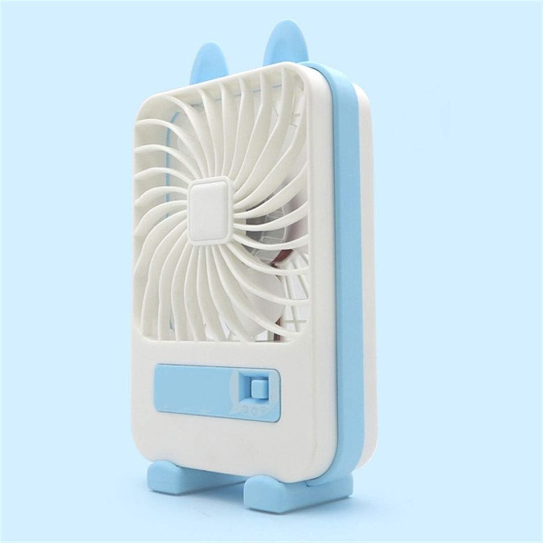HAIMEI-WU Summer USB Fan Mini Cartoon Fan Topnotch Mute Strong Wind Office Fan Formative Blade Charging Electric Fan Mini Electric Fan Color : Blue