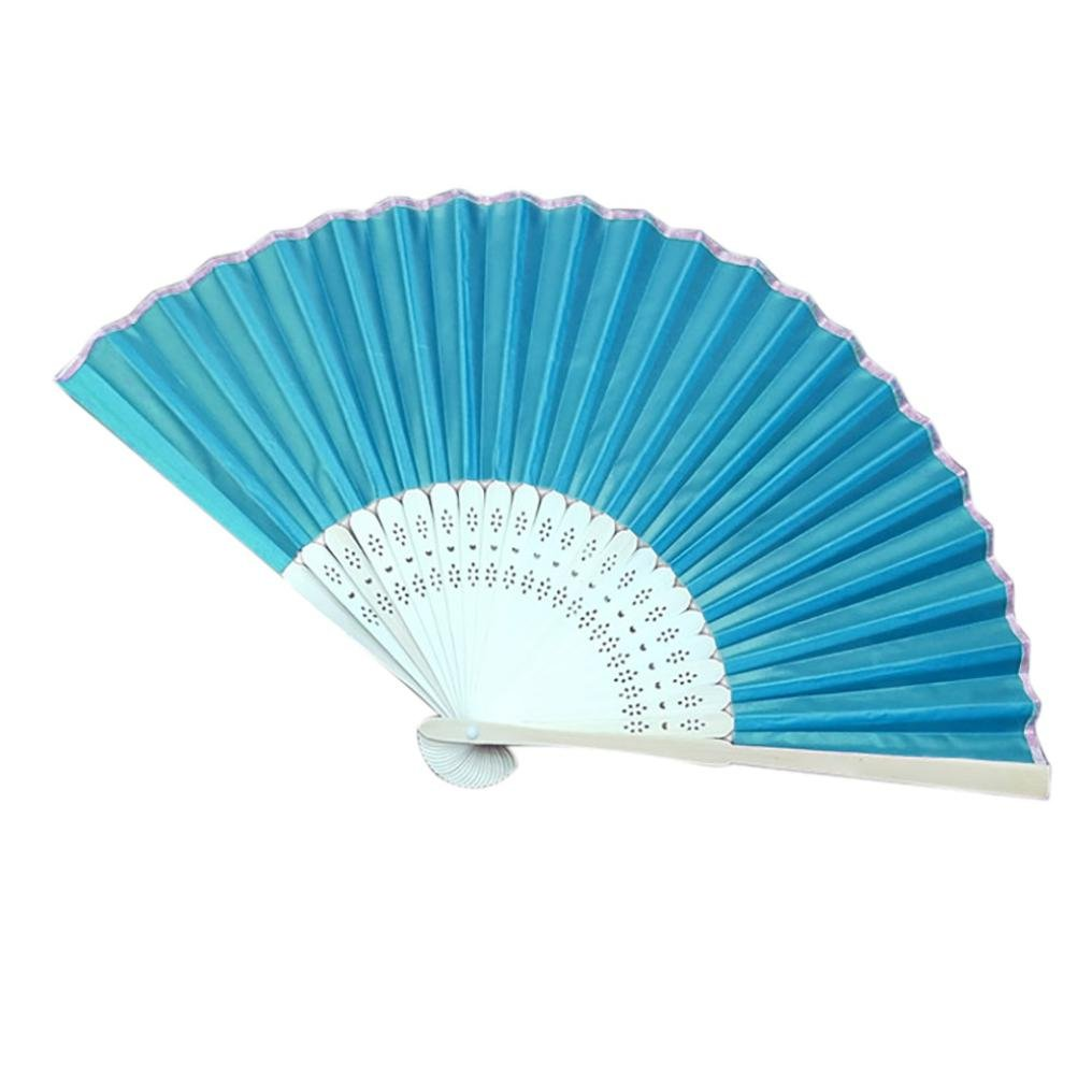 Sonmer Chinese Style Hand Held Fan, Bamboo Silk Folding Fan, for Party Wedding Decor (Lake Green)