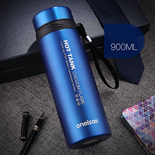 Blue 900Ml Stainless Steel Flask Water Bottle Coffee Travel Mug Cup by Travel Mugs