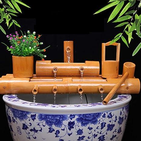 XYSQWZ Fuente De Bambú Jardín Agua Decoración La Bomba Esculturas Estatuas del Hogar Artesanía Obra Arte para Estanque Patio Pecera: Amazon.es: Deportes y aire libre