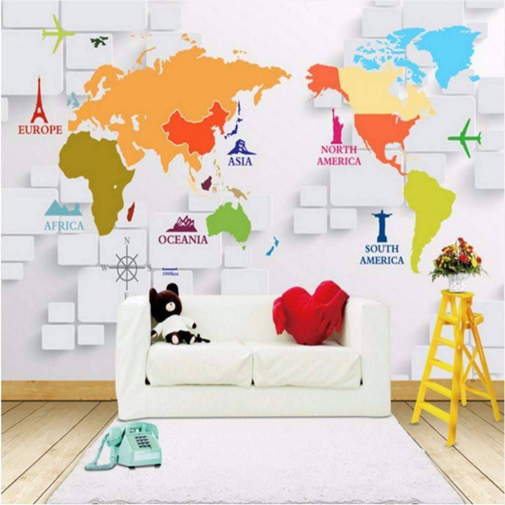 Weaeo カスタム写真の壁紙3Dフレスコ画世界地図カスタム壁画の背景壁の壁画壁画子供の部屋の壁画-400X280Cm B07HF8HZ6B  400X280CM