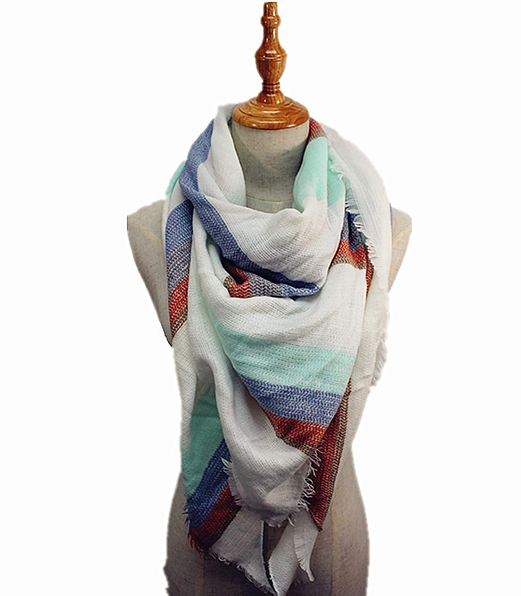 QH-383-17-04 White-Aqua-Brown Plaid Triangle Blanket Scarf