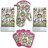 Bright Pink Owl Kitchen Decor 5 Piece Linen Set