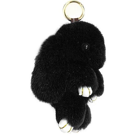 ACTLATI Soft Cute Bunny Charm Ring Keyfob Rabbit Fur Keyring Fluffy Pompom  Keychain Decoration Black 6c1e657941e4