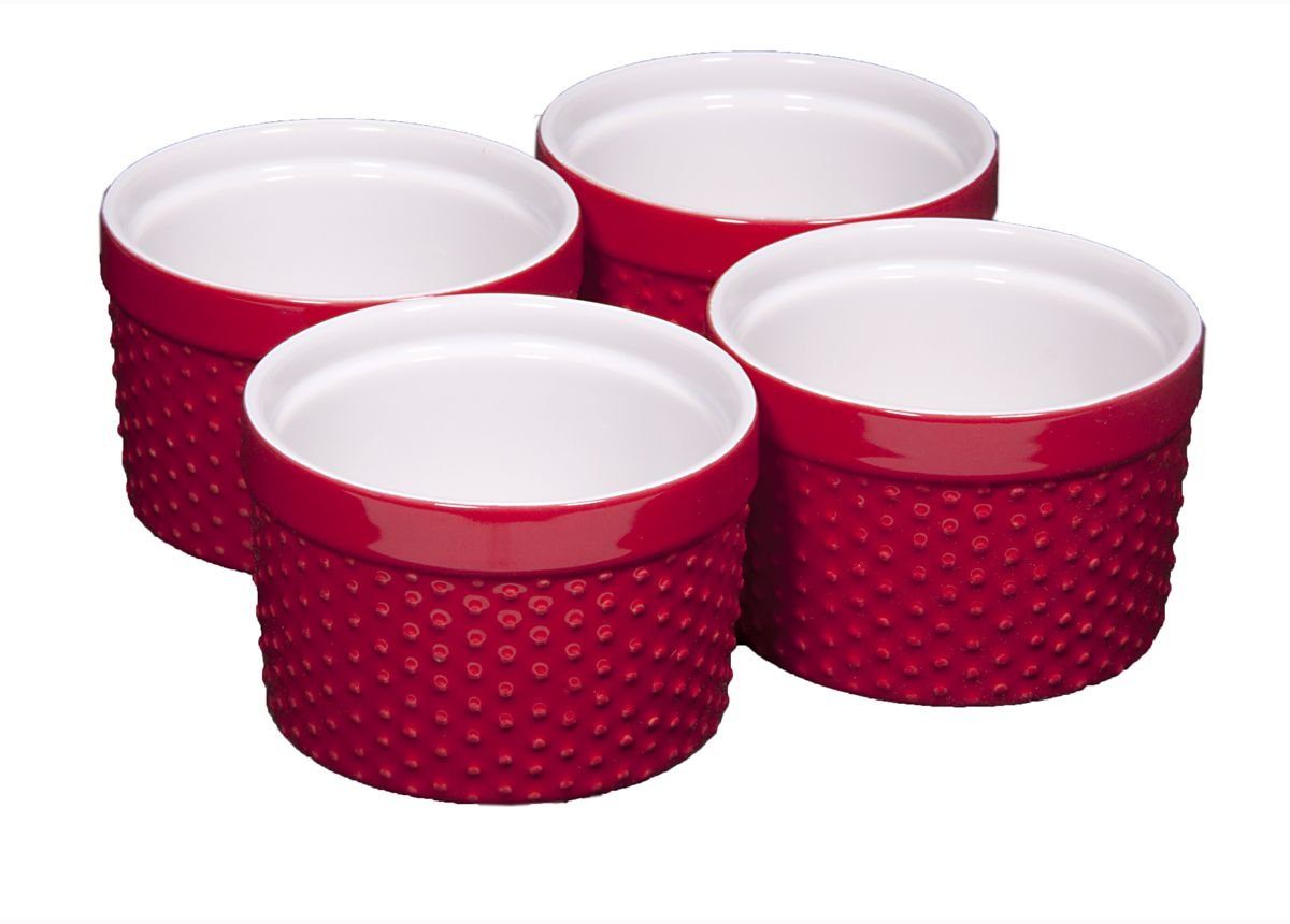 Round Porcelain Ramekin Dessert Dish, Set of 4 - Oven Safe Souffle Baking Dish, 8-oz (Red)