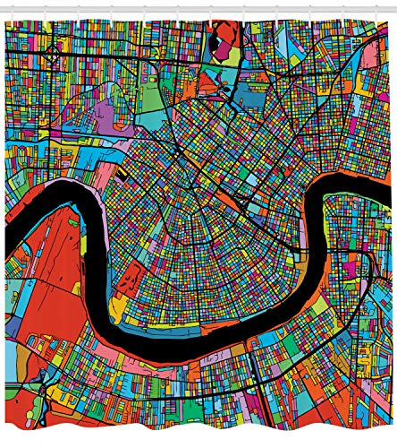Ambesonne New Orleans Shower Curtain, Colorful Map of City with Mississippi River Districts and Highways New Orleans, Cloth Fabric Bathroom Decor Set with Hooks, 84 Inches Extra Long, ()