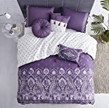 Purple and Turquoise Duvet Cover Wonder-Home Bohemian Duvet Cover Set Twin, 2-Piece Purple Boho Chic Paisley Pattern Printed, Soft Cotton Bedding Set