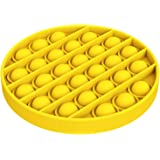 Push Pop Bubble Sensory Fidget It Toy - Stress Reliever Silicone Stress Reliever Autism Round Yellow Toy Anti Anxiety Toys fo