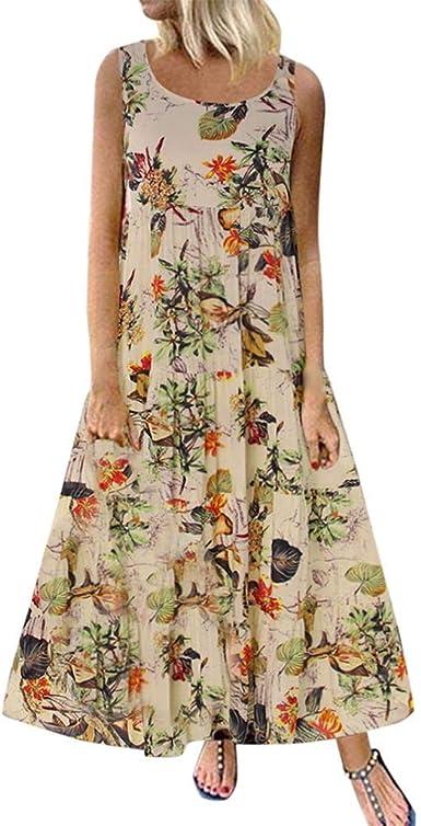 Boho Midi Skirt Vintage Floral Print Womens Ladies Pleated Casual A Line Dresses Midi Skirt