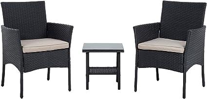 fdw wicker patio furniture 3 piece patio set chairs bistro set outdoor rattan conversation set for backyard porch poolside lawn black