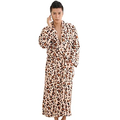 Avitalk Albornoz Batas Polares Largas de Baño Invierno con cinturón para Hombres - L - Leopardo marrón: Amazon.es: Ropa y accesorios