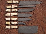 Custom made damascus blade 7 Pcs Shefs/Kitchen knife set DR-1007-C