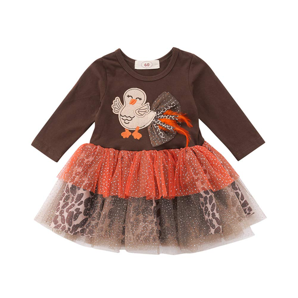 Winagainer Newborn Baby Girls Thanksgiving Dress Party Tulle Tutu Outfit Infant Long Sleeve Turkey Leopard Print Clothes