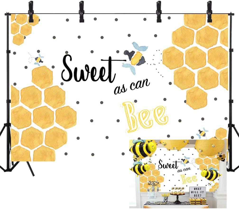Sensfun Sweet As Can Bee Backdrop Baby Shower Bumblebee Backdrop for Bee Day Honeycomb Bumble Bee Theme Birthday Party Gender Reveal Background Cake Table Banner Photo Photography 7x5ft