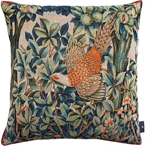 ART DE LYS Woven French Tapestry Pillow/Cushion Cover, Pheasant in The Forest (Faison en Fôret) Pillow Cover, William Morris, 14