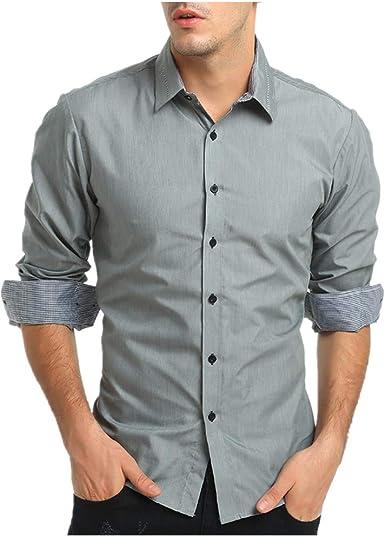 MEIbax Camisa para Hombres de Vestir Transpirable Manga Larga Color Sólido Slim Fit Formales de Solapa Corte Holgado sólido Formal Casual Camisas Negocios Clásico Bambú Fibra Camisa Tops Blusa: Amazon.es: Ropa y