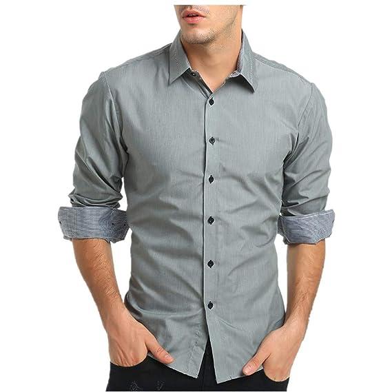 3a61a5c0ee6 MEIbax Camisa para Hombres de Vestir Transpirable Manga Larga Color Sólido  Slim Fit Formales de Solapa