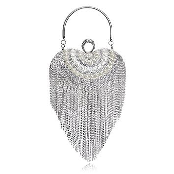 443db35bf4 WENDYRAY Femmes en Forme de Coeur Gland Perles Sacs de soirée/Embrayage  perlée à la