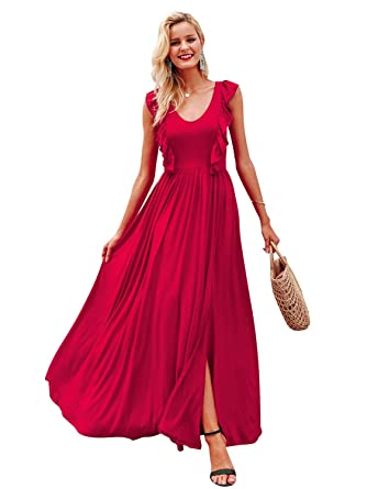 Simplee Women s V Neck Long Dress with Ruffle Sleeveless Slit Maxi Dress Red  ... 69a1d22f4a