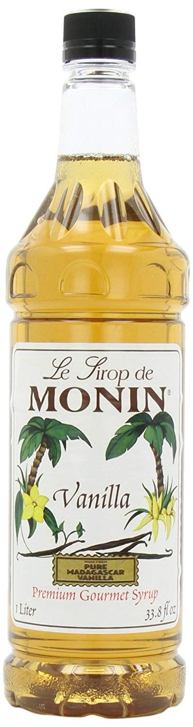 Monin Flavored Syrup, Vanilla, 33.8-Ounce Plastic Bottles (Pack of 4)