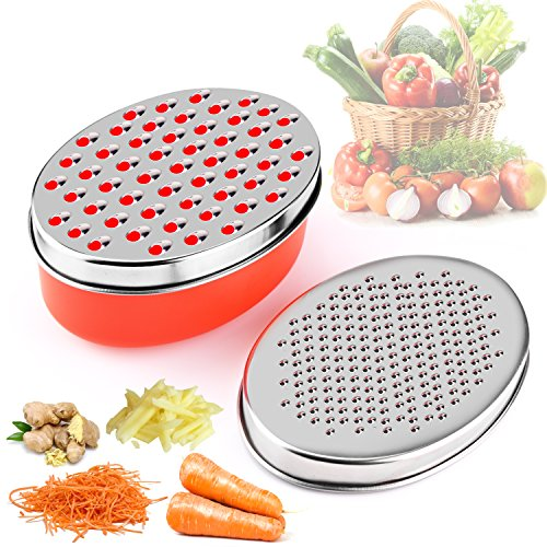 V.GREEN Cheese Grater, 4-IN-1 Stainless Steel Grater Zester with Storage Container - Rated Best Grips For Veggie, Vegetable, Fruits, Food - Kitchen Cutting Tool - Lifetime Replacement Warranty (Red) ()
