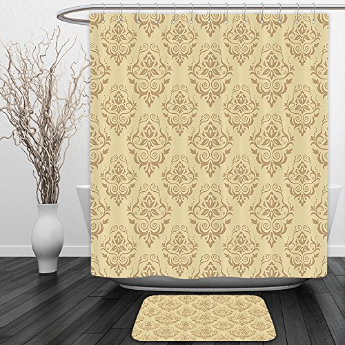 Vipsung Shower Curtain And Ground MatBeige Decor Regular Damask Patterns Islamic Antique Lace Floral Patterns Oriental Style Decorative Art BeigeShower Curtain Set with Bath Mats Rugs by vipsung