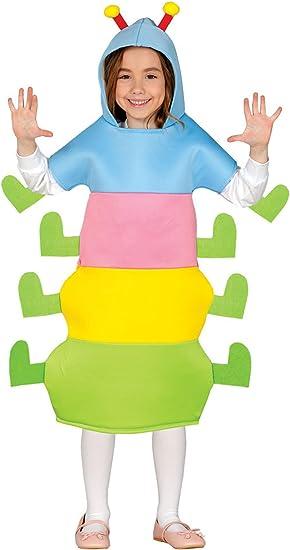 Guirca - Disfraz de gusano, para niños de 5-6 años, multicolor ...
