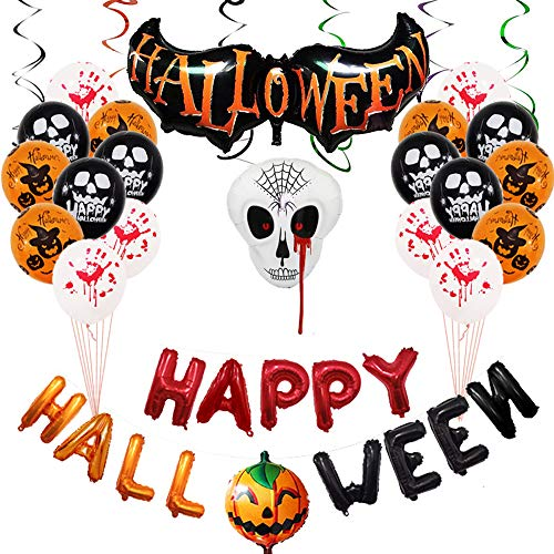 Halloween Office Themes Decoration (Halloween Party Decorations Balloons Banner Kit Banners Hanging Skeleton Inflatables Pumpkin Horror Balloons Banner All in one Pack Kids Halloween Theme)