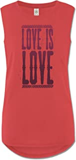 product image for Soul Flower Women's Organic Cotton Love is Love Muscle Tank Top, Red High Neck Long Graphic Yoga Top, Sleeveless Ladies Shirt