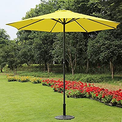 Pebble Lane Living 9 Foot Decorative Market Umbrella with Crank and Tilt - Yellow - 9' Tilt Crank Patio Market Umbrella - Yellow 180g Polyester Canopy with Vent Crank Open - shades-parasols, patio-furniture, patio - 61fpj7bEUSL. SS400  -