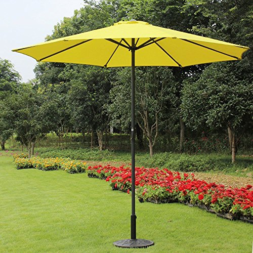 9 Foot Decorative Market Umbrella with Crank and Tilt – Yellow Review