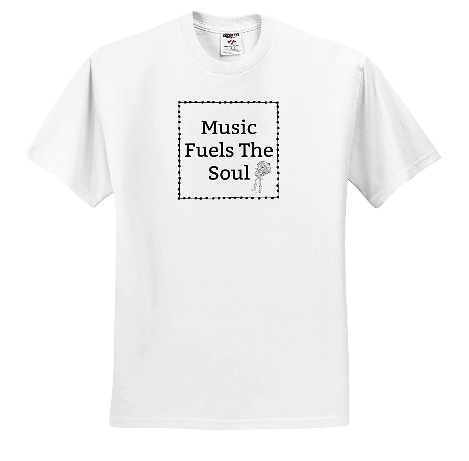 Adult T-Shirt XL Image of Music Fuels The Soul ts/_316687 3dRose Carrie Merchant Image