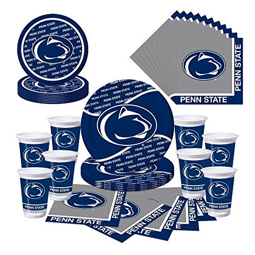 Creative Converting 414729+374729+424729+664729 Penn State Nittany Lions Party Bundle-Plates, Cups, Napkins-Serves 8,Blue, Silver