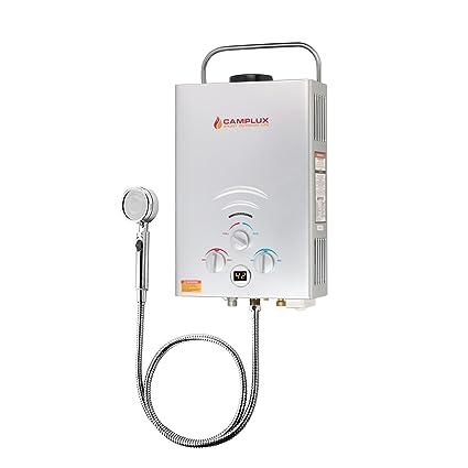 Camplux BW158S 6L - Calentador de agua instantáneo portátil para exteriores con regulador CE, color