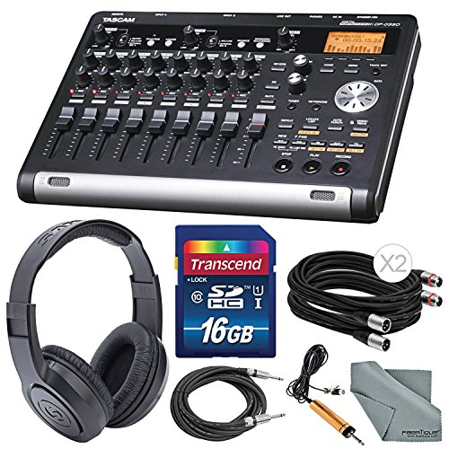 Tascam DP-03SD Digital Portastudio 8-Track Recorder with Samson Studio Headphones and Accessory Bundle by Photo Savings