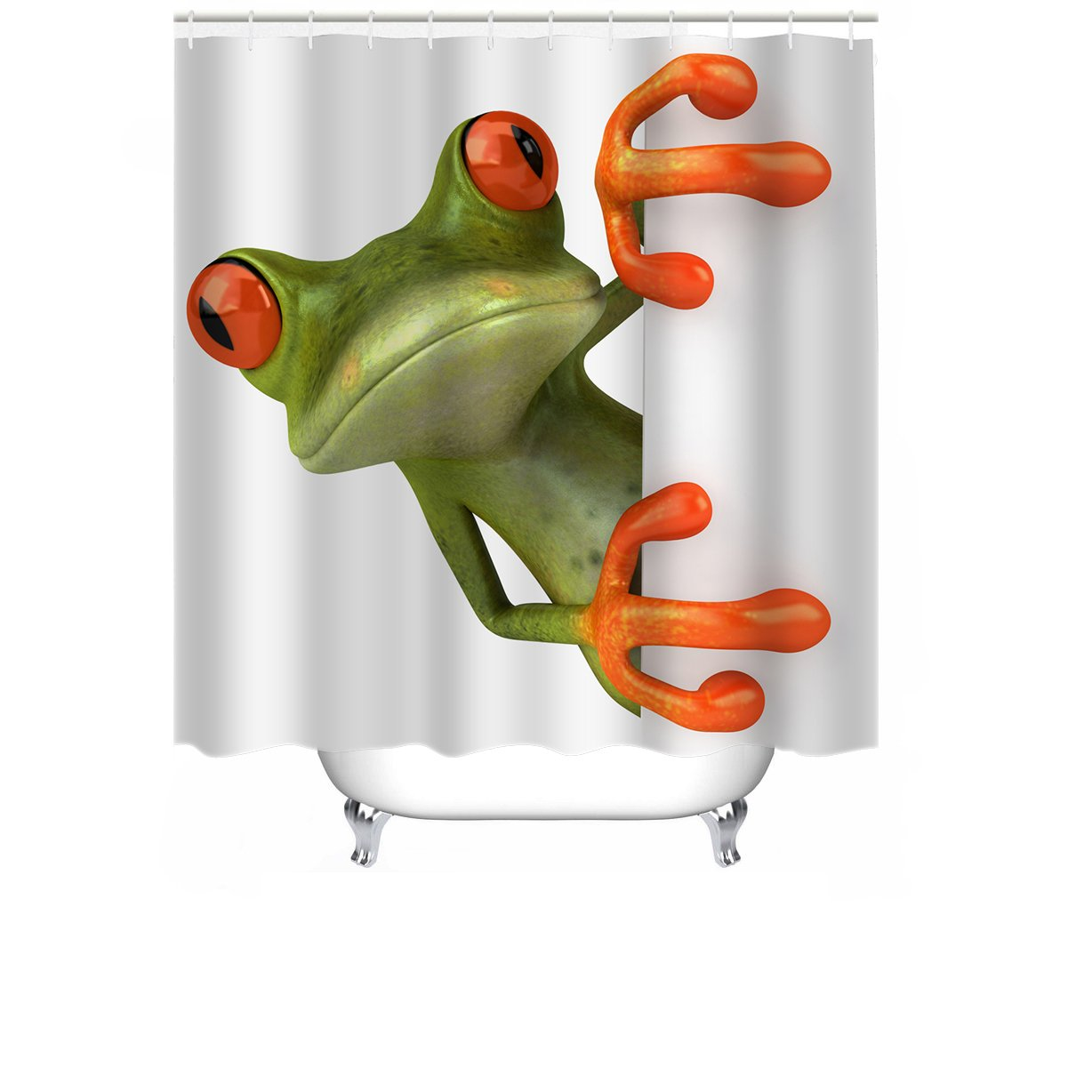 Cheerhunting Frog Shower Curtain Cute Porcelain Hiding Behind The Wall Bathroom Accessory With Hooks 72W X 72H Waterproof Fabric Decor