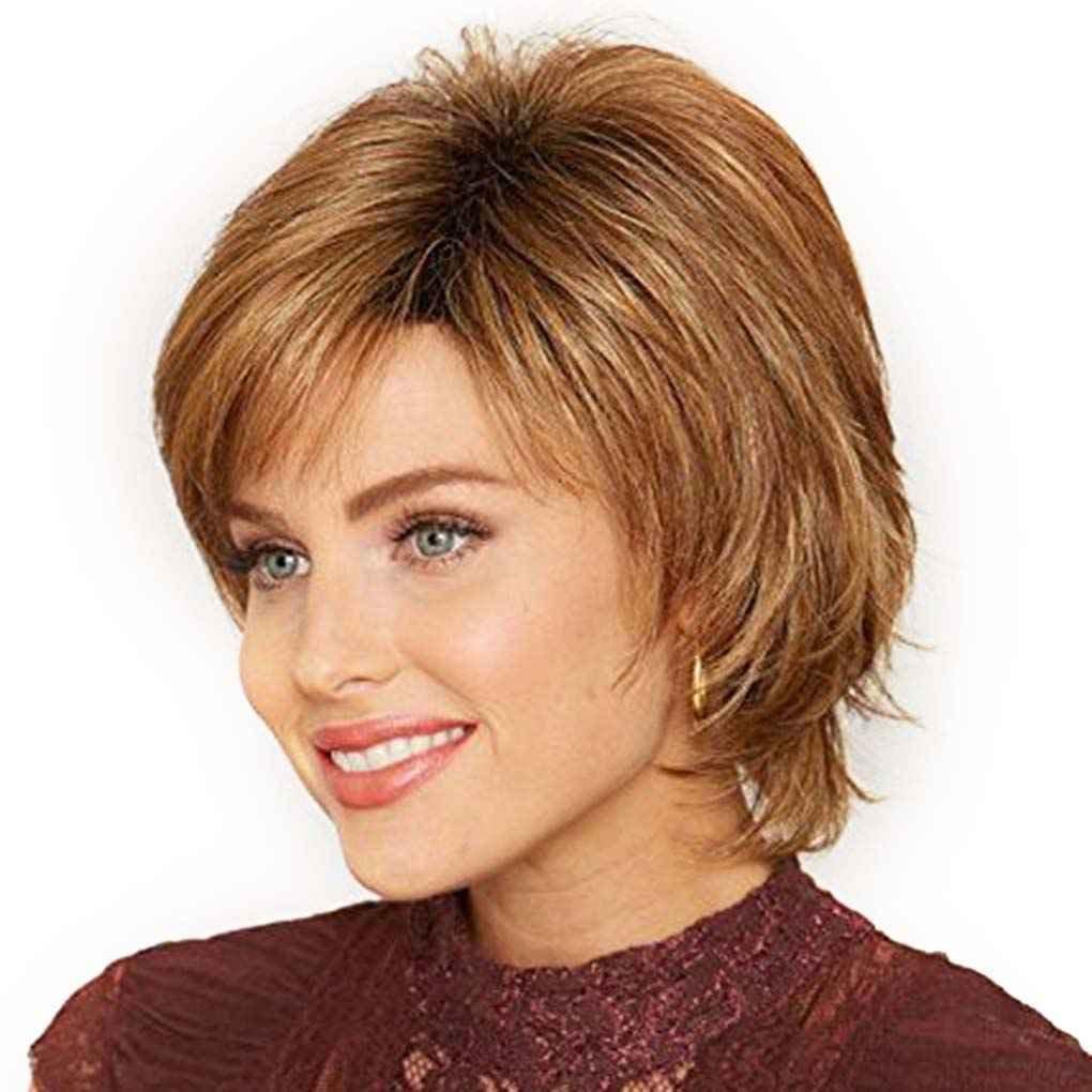 Babysbreath Fluffy peluca corta rubia sint/ética rizado peluca de pelo corto muchos colores para elegir marr/ón
