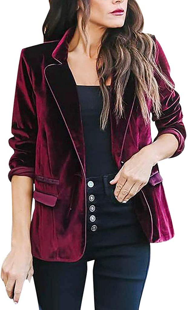 ANJUNIE Womens Velvet Lapel Blazer Button Down Suit Tops Casual Loose passen Pockets Jackets