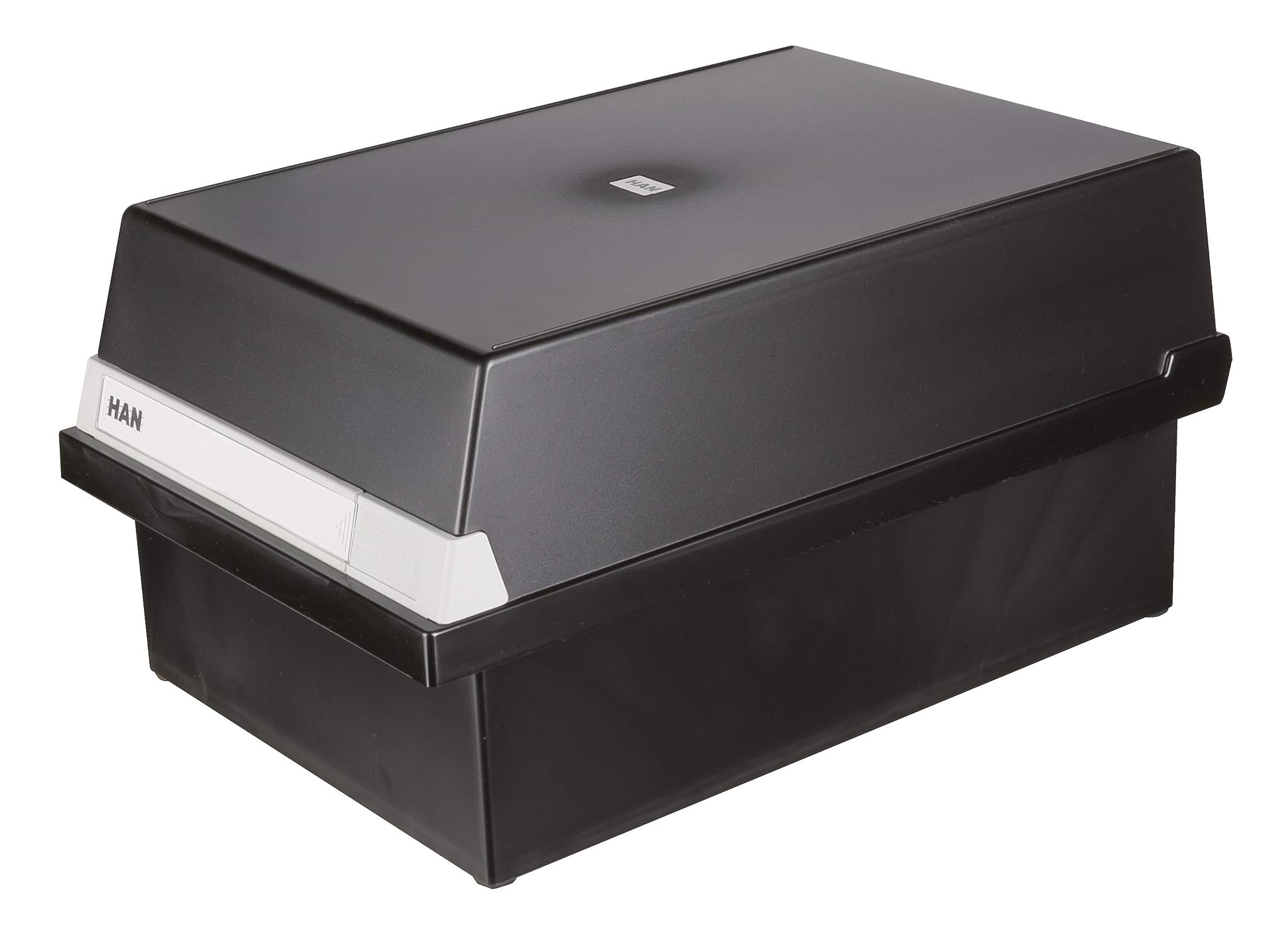 HAN 966-13, Card Filing Box A6 Landscape. Innovative, Attractive Design Holds 800 Cards, readjustable lid Supplied with Large Inscription Label, Black by HAN