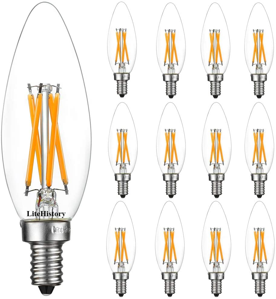 Pack of 1 Bulbrite Item 776756 Fully Dimmable High CRI for Truer Color Renderring 4 Watt LED Filament Light Bulb 2700k E12 E12 Candelabra Base