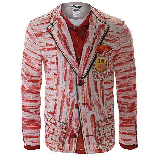[Faux Real - Mens Bacon Suit Costume Long Sleeve - Large Multi] (Bacon Suit Adult Costumes)