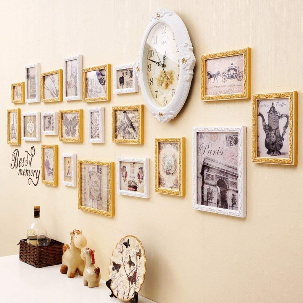 Der Photo Frames Multi - Picture Frame DIY Staircase Home Nordic Atmosphere Wall Painting Sofa Background Wall Decoration Wooden Frame Mute The Clock Li Li Na Shop (Color : A)