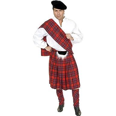 new adult 34 36 red scottish kilt highlander costume