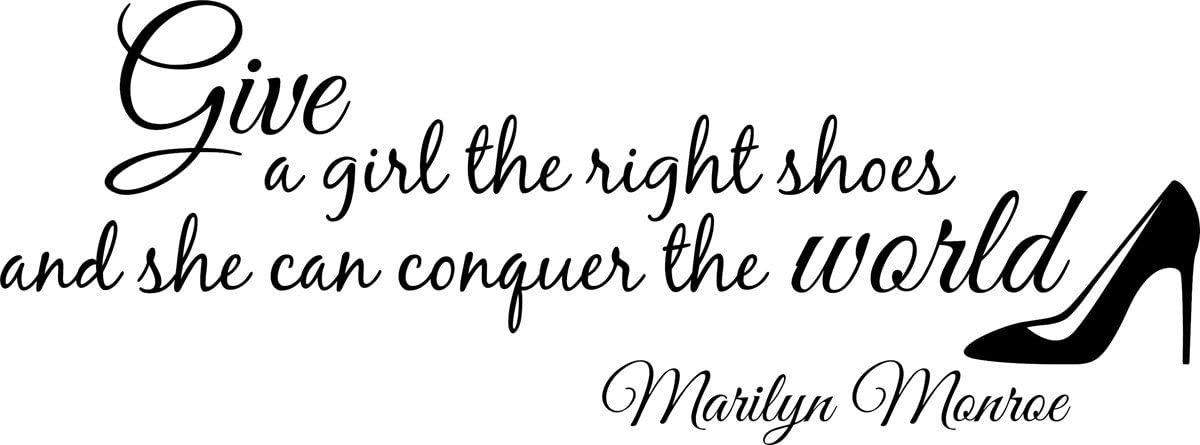 Vinyl Decal Marilyn Monroe Give A Girl Shoes Conquer The World Quote Wall Decal Decor