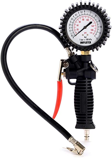 Reifenfüllmessgerät Manometer Luftdruckprüfer Reifendruckmesser Reifendruckprüfer Messbereich 0 12 Bar Schlauchlänge 400 Mm Baumarkt