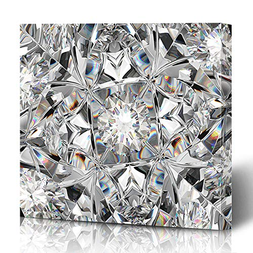 Ahawoso Canvas Prints Wall Art 12x12 Inches Crystal Diamond Gemstone Macro Closeup Kaleidoscope Effect Brilliance Top Abstract Render Black Design Clear Decor for Living Room Office Bedroom