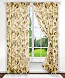 Ellis Curtain Brissac Tailored Panel Pair with Tiebacks, 70 x 63, Linen by Ellis Curtain For Sale