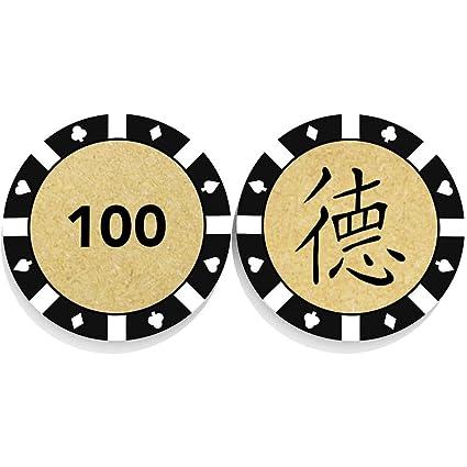 Amazon 50 X Chinese Word Honesty Wooden Poker Casino Chips