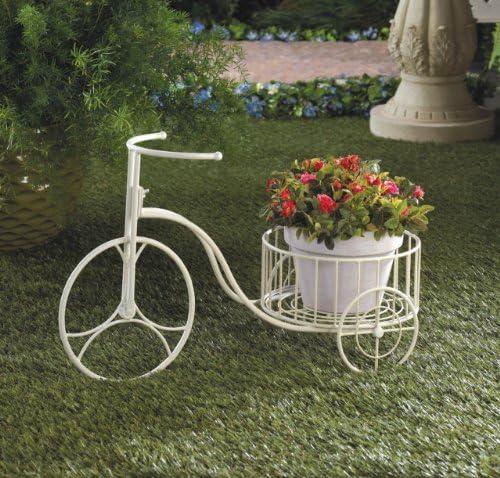 Planta de jardín macetas blanco triciclo soporte Metal interior y exterior Decoración del hogar maceta flores patio esquina decorativo: Amazon.es: Jardín