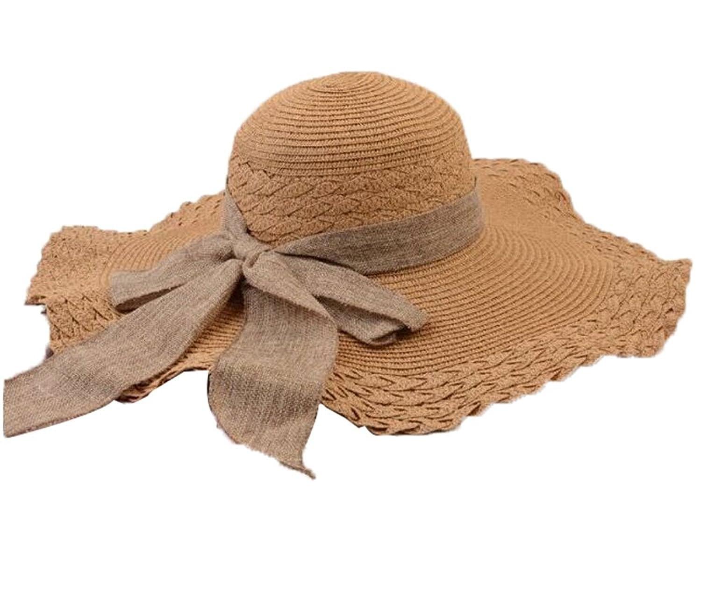 niceEshop(TM) Women Wide Trim Bowknot Bohemia Beach Straw Hats